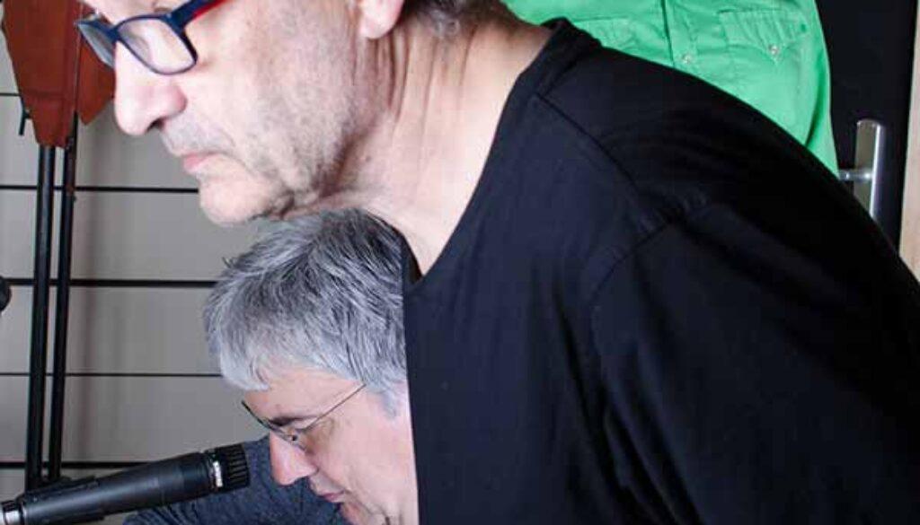 Drei Männer im Studio